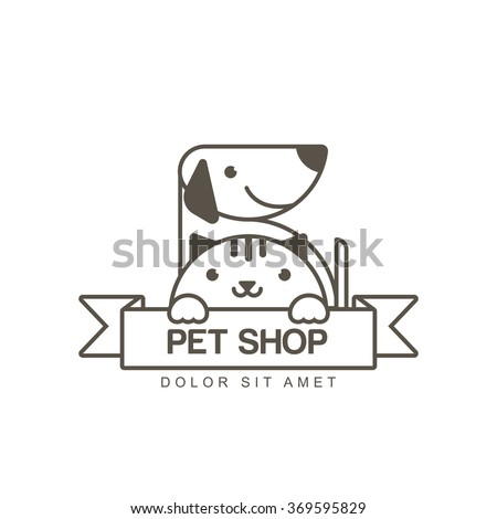 Vector outline illustration of cute muzzle of cat and smiling dog. Logo icon design template. Trendy concept for pet shop or veterinary.  - stock vector
