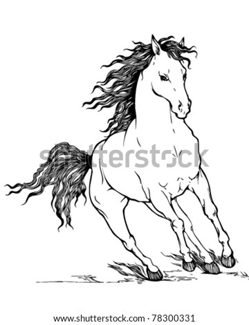 vector outline illustration of galloping horse with beautiful mane