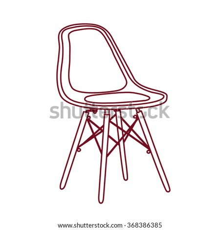 Vector outline illustration of plastic chair in Scandinavian Nordic style with wooden legs - stock vector
