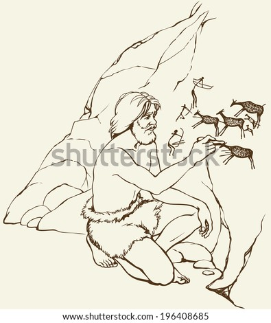 Vector outline image. Primitive old man in loincloth of furry animal skin draws in charcoal on stone wall of the cave paintings of everyday life: tribe hunters shoot bows in deer herd with young fawn  - stock vector