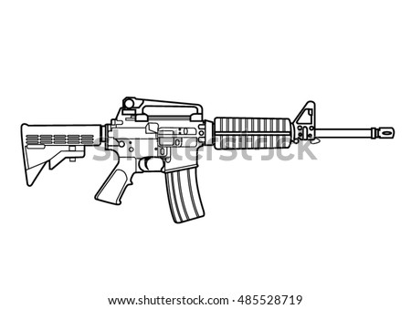 how to draw a m16 assault rifle step by step