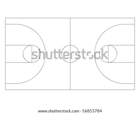 Vector outline of lines on a basketball court. - stock vector