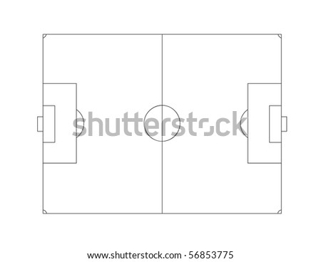 Vector outline of lines on a soccer (football) field. - stock vector