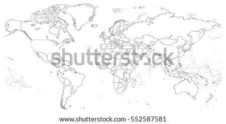 Vector Outline Of Political World Map