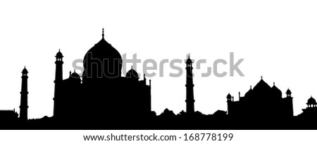 Vector outline of the Taj Mahal of India - stock vector