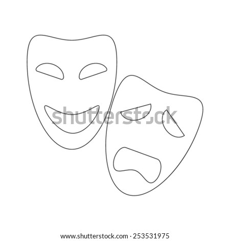 Vector outline sad and happy mask icons - stock vector