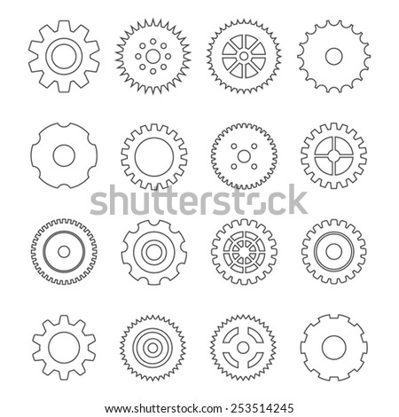 Vector outline set of gears. Cogwheel connection - stock vector