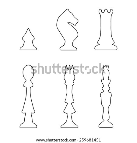 Vector outline set of  hand drawn chess icons - stock vector