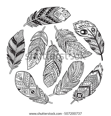 Vector Outline Set With Tribal Indian And Aztec Hipster Boho Feathers Adult