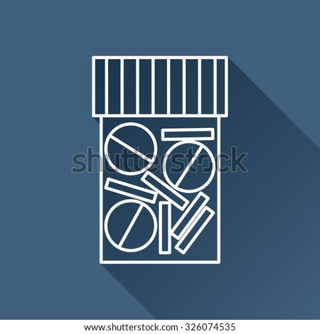 Vector outline tablet bottle on dark blue background with long shadow . Health icon  - stock vector