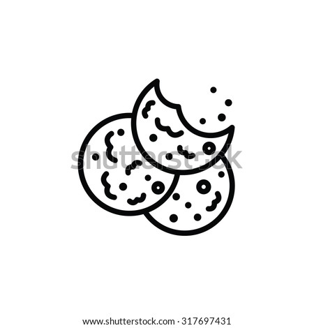 Vector outlined icon of bitten oatmeal sugar cookies with chocolate - stock vector