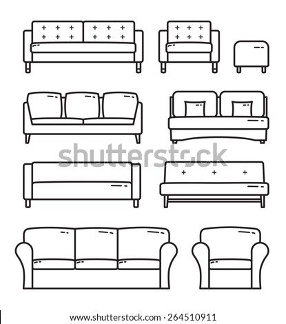 Vector Outlined Sofa Furniture Icon set - stock vector