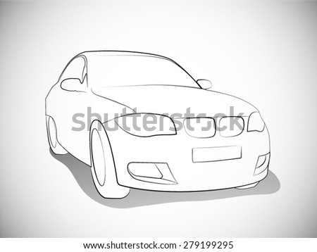 Vector Outlines of front Sports Cars - stock vector