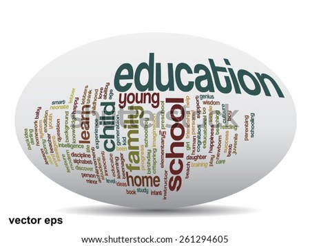 Vector oval  conceptual education abstract word cloud, white background, metaphor to child, family, school, life, learn, knowledge, home, study, teach, educational, achievement, childhood or teen - stock vector
