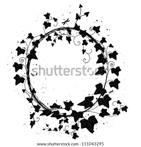 vector oval frame with branch of ivy and dragonfly - stock vector