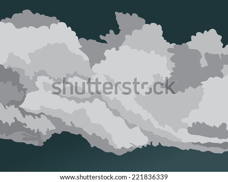 Vector overcast sky and storm clouds - stock vector