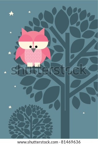 vector owl and tree - stock vector