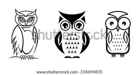 Vector owl collection - stock vector