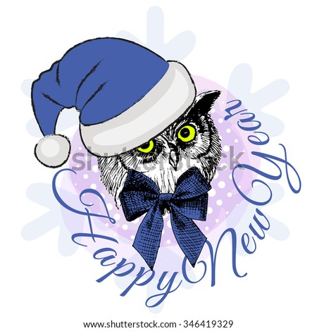 Vector owl in a blue hat. Santa. Happy New Year. Santa Claus cap. Text.  - stock vector