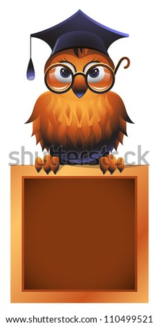 Vector owl in a square academic cap and in glasses, perching atop a school chalkboard - stock vector