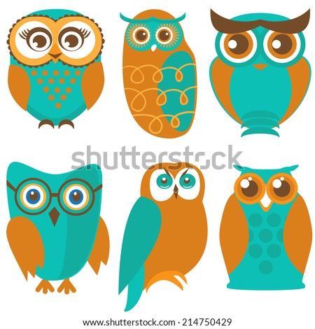 Vector owl set, cute owls and birds in orange and green colors - stock vector