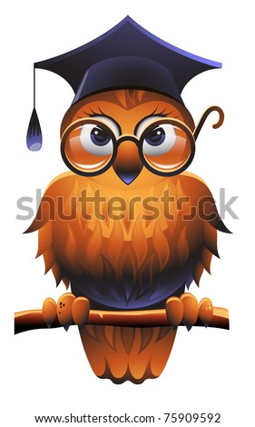 Vector owl wearing a square academic cap and glasses - stock vector