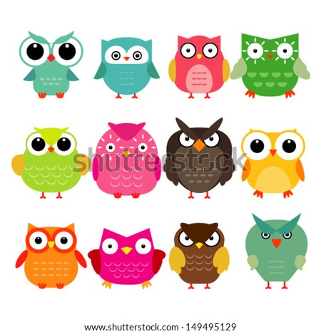 Vector owls set - stock vector