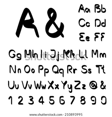 Vector own black font alphabet - simple letters and numbers, ampersand and at-sign symbol - stock vector