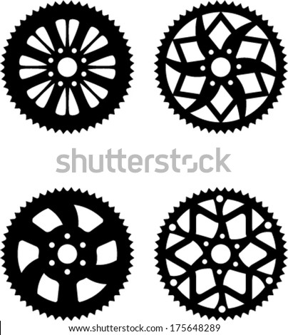 Vector pack of bike rear sprocket - stock vector