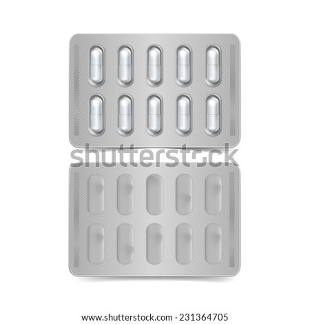 Vector Pack of Capsules Isolated on White Background - stock vector