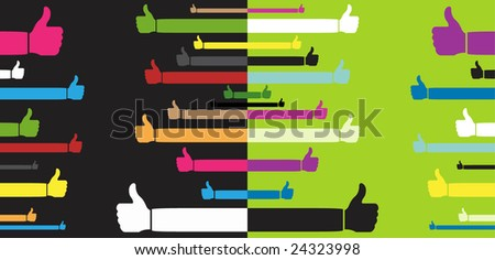 vector pack of happy thumbs up - part 1 - stock vector