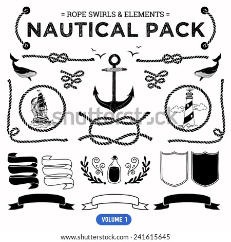 Vector pack of nautical elements. Rope swirls, logos and badges. - stock vector