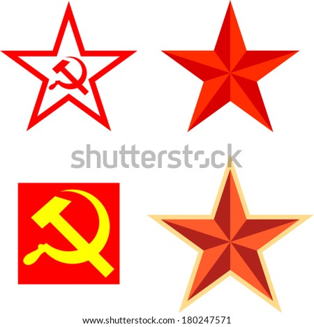 Vector pack with communism symbols - stock vector