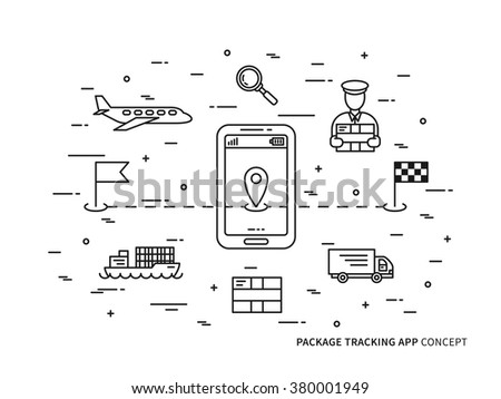 Vector package tracking linear illustration. Parcel tracking (package, global, mobile, app, delivery, box, shipment, online, service) creative concept. Business logistic technology graphic design.  - stock vector