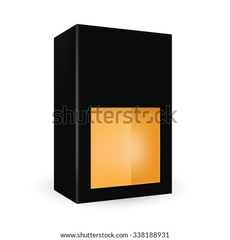 VECTOR PACKAGING: Black package box with front half window, orange inside on isolated white background. Mock-up template ready for design
