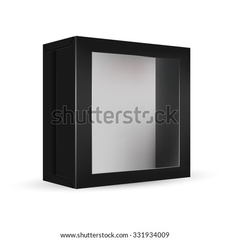 VECTOR PACKAGING: Black package box with front window on isolated white background. Mock-up template ready for design