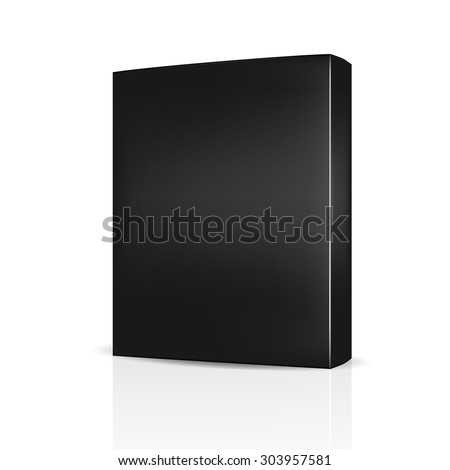 VECTOR PACKAGING: Black packaging Box on isolated white background. Mock-up template ready for design.
