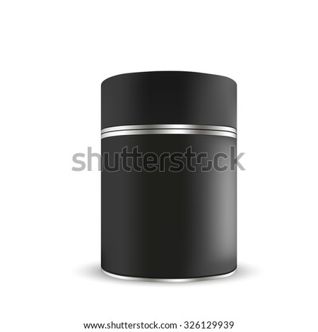 VECTOR PACKAGING: Black tin round container on isolated white background. Mock-up template for design. - stock vector