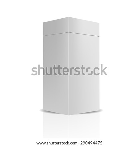 VECTOR PACKAGING: gray package box with detachable lid on isolated white background. Mock-up template ready for design. - stock vector