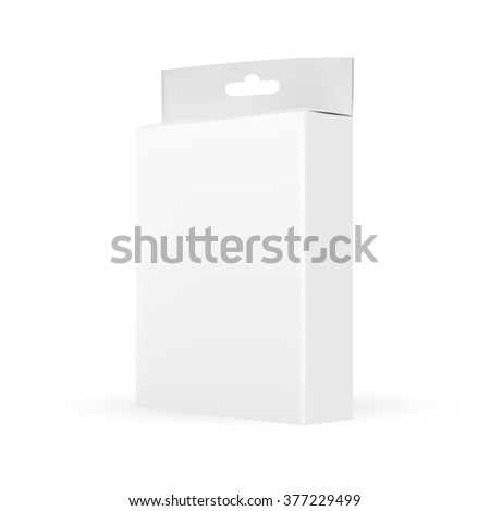 VECTOR PACKAGING: Side view of white gray packaging box with hole to hang on white background. Mock-up template ready for design.