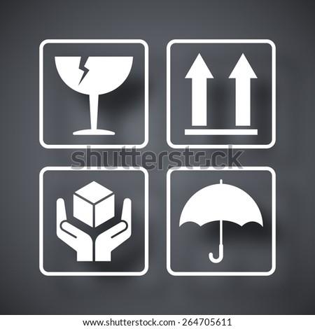 Vector packaging symbols - stock vector