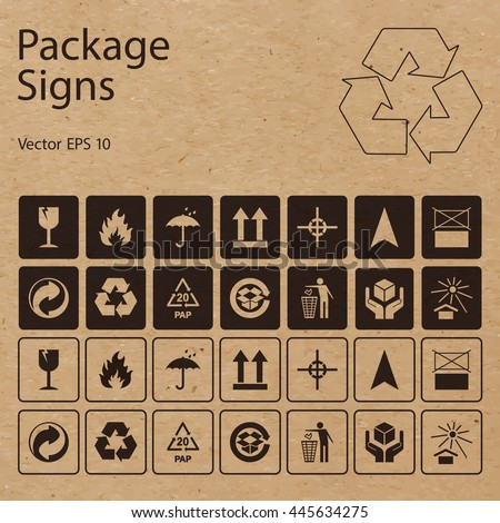 Vector packaging symbols on vector cardboard background. Shipping icon set including recycling, fragile, flammable, this side up, handle with care, keep dry, other symbols. Use on package, carton box.