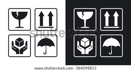 Vector packaging symbols. Two-tone version on black and white background - stock vector