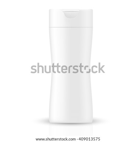 VECTOR PACKAGING: White gray beauty products/cosmetics bottle on isolated white background. Mock-up template ready for design - stock vector