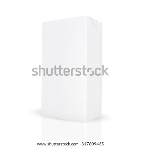VECTOR PACKAGING: White gray carton box for liquid like juice/milk on isolated white background. Mock-up template ready for design - stock vector