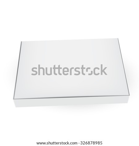 VECTOR PACKAGING: White gray packaging box on isolated white background. Mock-up template ready for design.