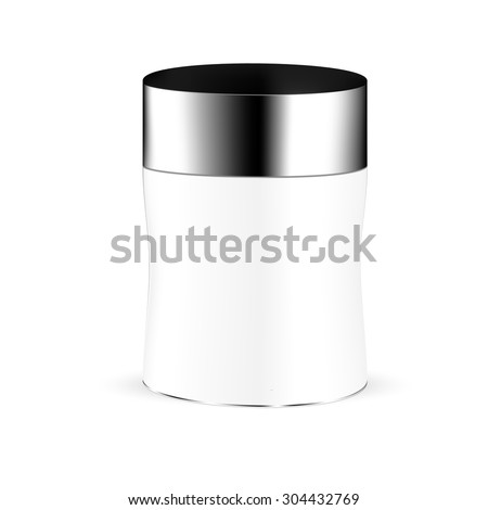 VECTOR PACKAGING: White gray round beauty product container with black lid on isolated white background. Mock-up template ready for design
