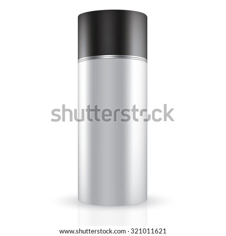 Vector Packaging: White gray round container with black lid on isolated white background. Mock-up template for design. - stock vector