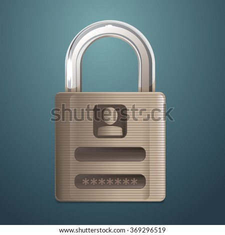 Vector Padlock with log in panel
