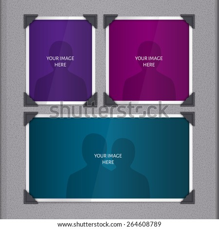 Vector page of photo album, with photo frames and corner. - stock vector